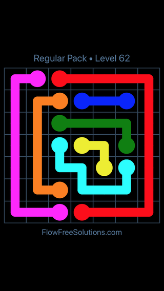 Solution and Answer to the Puzzle for Flow Free Regular Pack Level 2