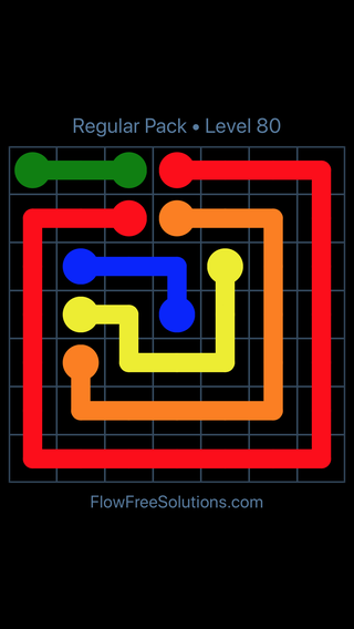 Solution and Answer to the Puzzle for Flow Free Regular Pack Level 20