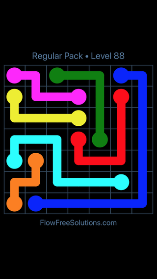 Solution and Answer to the Puzzle for Flow Free Regular Pack Level 28