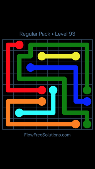Solution and Answer to the Puzzle for Flow Free Regular Pack Level 3