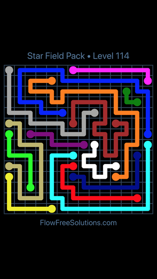 Solution and Answer to the Puzzle for Flow Free Star Field Pack Level 114