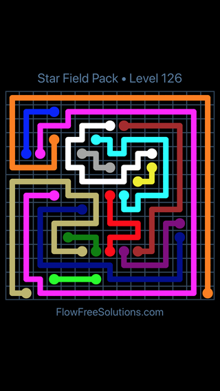 Solution and Answer to the Puzzle for Flow Free Star Field Pack Level 126
