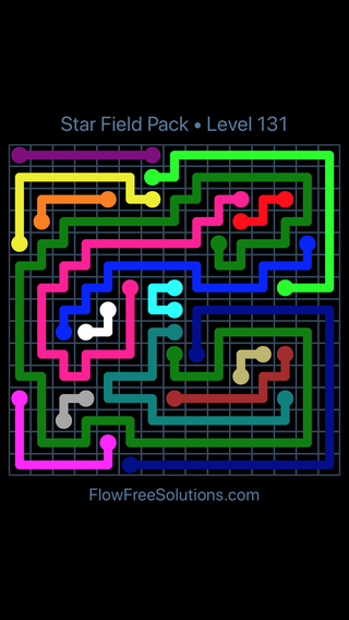 Solution and Answer to the Puzzle for Flow Free Star Field Pack Level 131