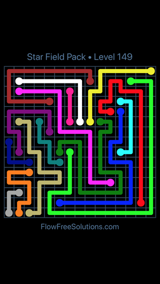 Solution and Answer to the Puzzle for Flow Free Star Field Pack Level 149
