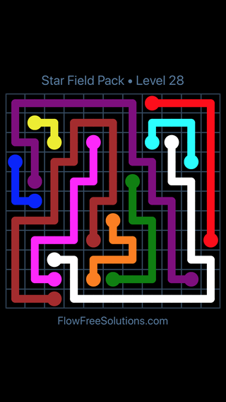 Solution and Answer to the Puzzle for Flow Free Star Field Pack Level 28