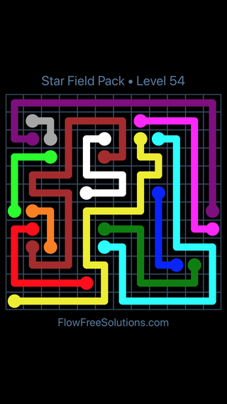 Solution and Answer to the Puzzle for Flow Free Star Field Pack Level 54