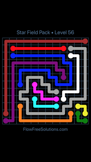 Solution and Answer to the Puzzle for Flow Free Star Field Pack Level 56