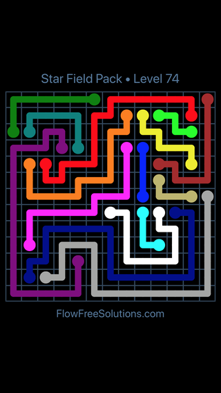 Solution and Answer to the Puzzle for Flow Free Star Field Pack Level 74