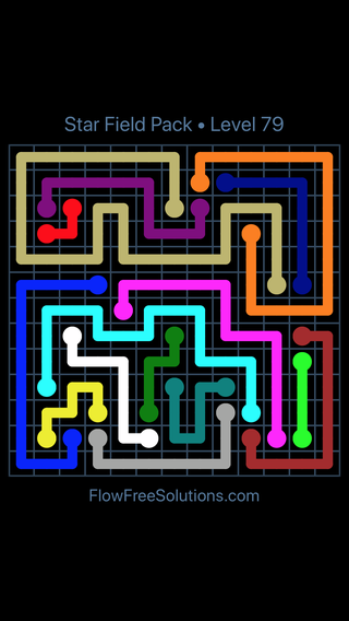 Solution and Answer to the Puzzle for Flow Free Star Field Pack Level 79