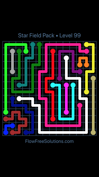 Solution and Answer to the Puzzle for Flow Free Star Field Pack Level 99