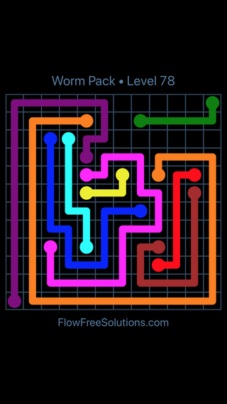 Flow Free Worm Pack Level 78 Puzzle Solution and Answer