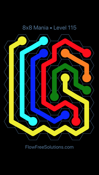 Flow Free Hexes 8x8 Mania Level 115 Puzzle Solution And Answer