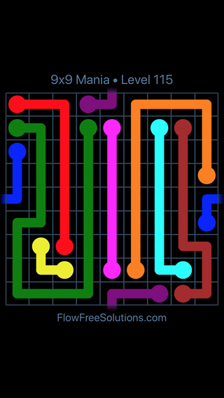 Flow Free Warps 9x9 Mania Level 115 Puzzle Solution And Answer